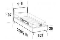 Beds Academy Single bed with FLY bed frame
