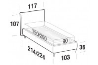 Beds Allen Single bed with FLY bed frame