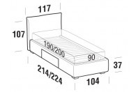 Beds Allen Single bed with BOX bed frame