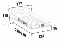 Beds Caravaggio French bed with FLY bed frame