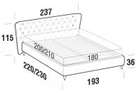 Beds Caravaggio Maxi double bed with FLY bed frame