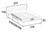 Beds Caravaggio Double bed with BOX bed frame