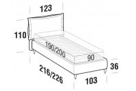 Beds Catlin Single bed with FLY bed frame