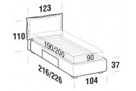 Beds Catlin Single bed with BOX bed frame