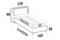 Beds Cortina Single bed with FLY bed frame