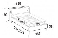 Beds Cortina French bed with FLY bed frame