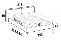 Beds Cortina Maxi double bed with FLY bed frame