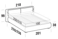 Beds Cortina Maxi double bed with ROUND bed frame