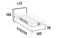 Beds Fris Single bed with FLY bed frame