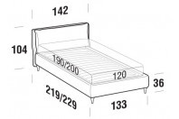 Beds Fris French bed with FLY bed frame