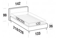 Beds Ipanema French bed with FLY bed frame