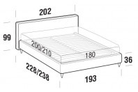 Beds Ipanema Maxi double bed with FLY bed frame
