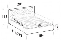 Beds Monet Maxi double bed with FLOOR bed frame