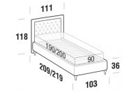 Beds Monet Single bed with FLY bed frame