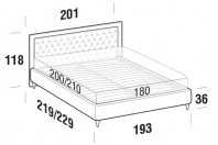 Beds Monet Maxi double bed with FLY bed frame