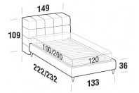 Beds Orazio French bed with FLY bed frame