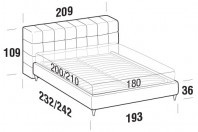 Beds Orazio Maxi double bed with FLY bed frame