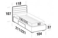 Beds Phil Single bed with BOX bed frame