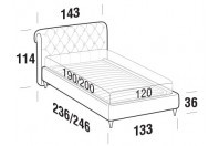 Beds Raffaello French bed with FLY bed frame