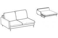 Sofa beds Bali 3-er lateral element sofa bed with kama armrest