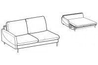 Sofa beds Bali 3-er lateral element sofa bed with krio armrest