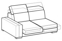 Sofas Astor 2-er lateral element with sliding seats