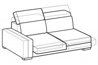 Sofas Astor 3-er lateral element with with sliding seats