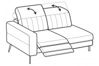Sofas Egon 2-er lateral element with 1 relax