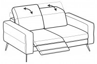 Sofas Gareth 2-er sofa with 1 relax