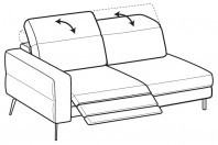 Sofas Gareth 3-er lateral element with 1 relax