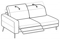 Sofas Gareth 3-er maxi lateral element with 1 relax
