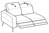 Sofas Gareth 2-er lateral element with 2 relax