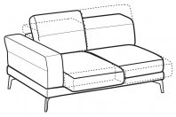 Sofas Lambert 2-er lateral element with sliding seats
