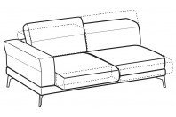 Sofas Lambert 3-er maxi lateral element with sliding seats